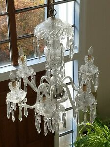 Antique Crystal prisms,glass chandelier parts ,lot of six 6