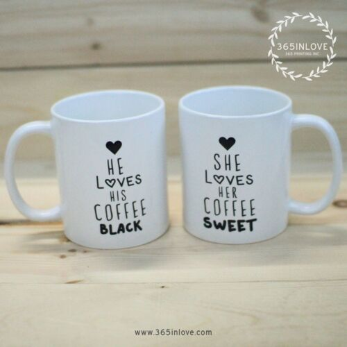 Personalized His and Hers Black and Sweet Coffee Mugs MC037