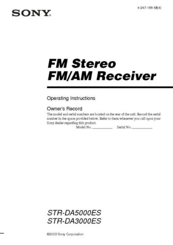 Receiver Owners Instruction Manual Printed or PDF Sony STR-DA3300ES Amplifier