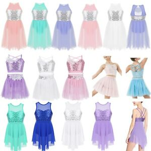 Girls-039-Lyrical-Ballet-Dance-Leotard-Dress-Skating-Gymnastics-Tutu-Skirt-Costume