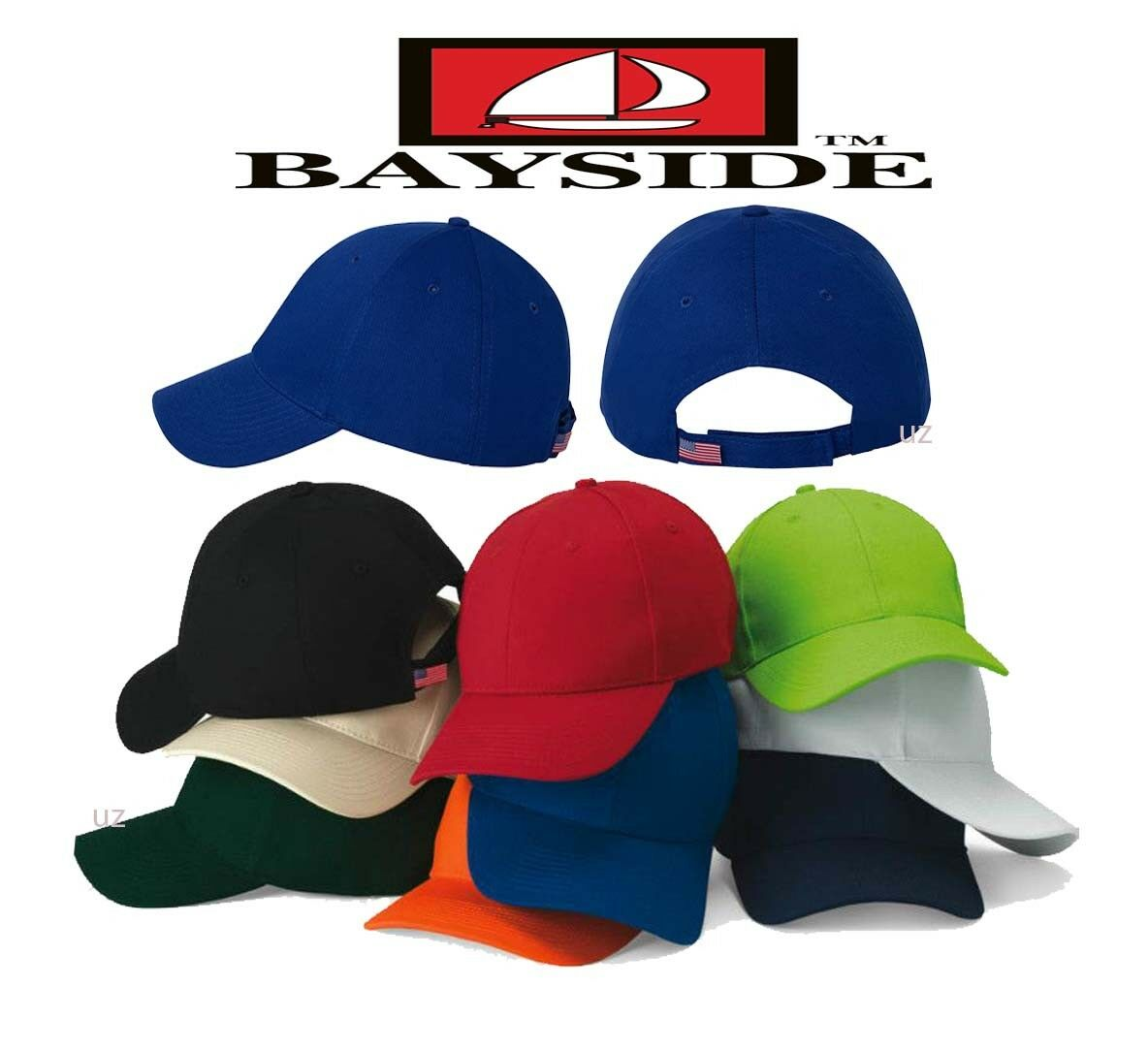 Bayside Mens Hat USA Made Structured Cap Hat Mens Cotton Chino Twill .3660 25d2cb