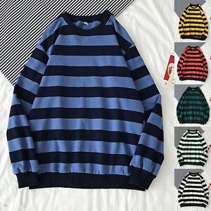 Men's Sweater Sweatshirt Warm Winter crew neck Stripe Pullover Tops Long Sleeved