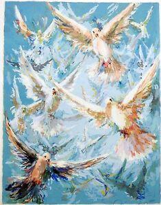Eva-Makk-RARE-Original-Limited-Edition-FREE-BIRD-UNFRAMED-SIGNED-Serigraph-MINT