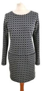 Joules-Size-12-Dark-Navy-Blue-White-Long-Sleeve-Geometric-Shift-Dress-Pockets