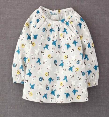 Mini Boden baby top grey cotton bird print top new age girls 0 3 6 months