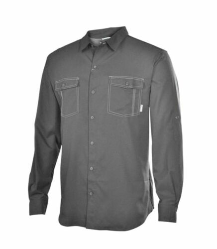 New Columbia mens UPF 40 fishing camping convertible casual shirt Gray S