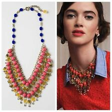 Anthropologie La Ramba Bib, Cascading Pink Yellow & Blue Beaded Necklace