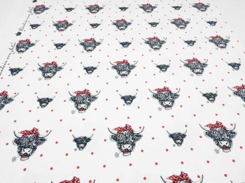 Stoff Baumwolle Jersey Kuh Kühe Rinder Pünktchen weiß rot schwarz Kleiderstoff