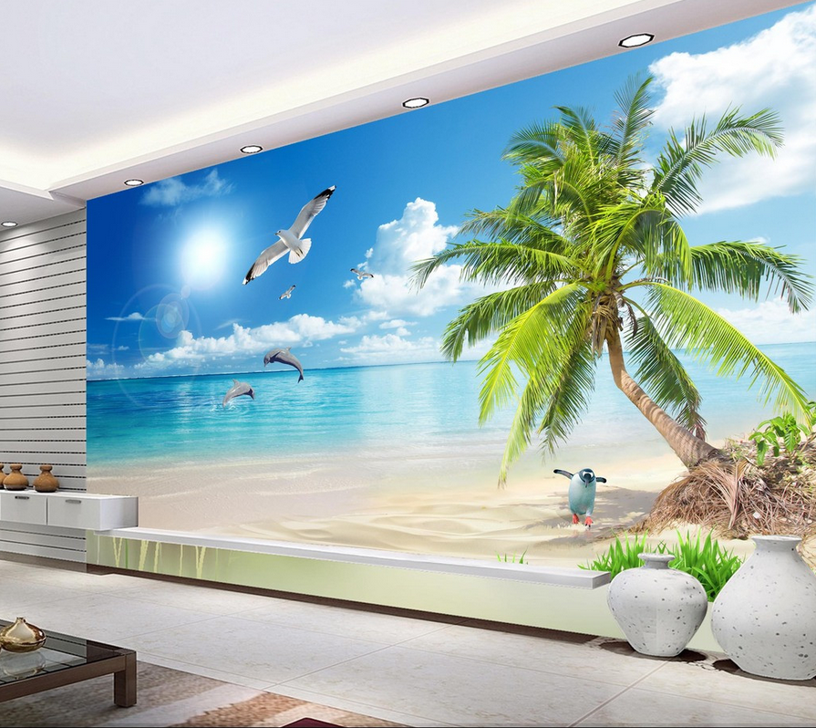 3D Tier Sonniger Strand 754 Tapete Wandgemälde Tapete Tapeten Bild Familie DE