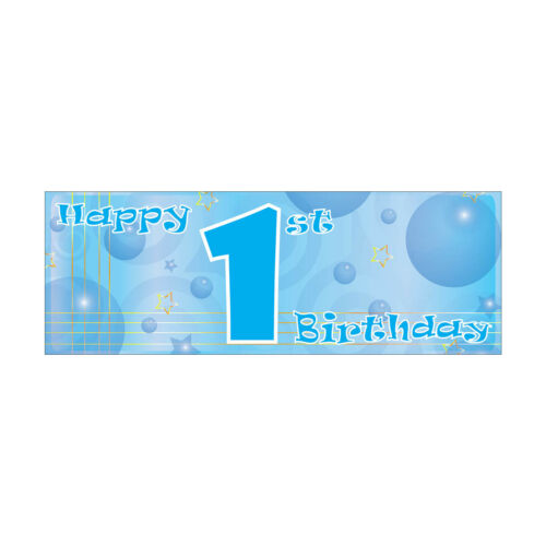 Blue Boy Happy 1st Birthday Bubbles Banners Decorations Balloons Party Supplies