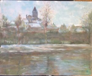Vetheuil-In-The-Seine-France-Oil-Painting-Signed-1980-Schmidt-Antique-Rare