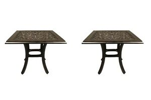 Outdoor end table set of 2 patio tables pool side accent cast aluminum furniture