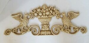 Vintage-Cast-Iron-Door-Topper-Wall-Hanging-Off-White-Flowers-Birds