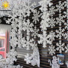 60pcs 4.33'' Christmas White Snowflakes Hanging Ornament Decor Drop Pendants