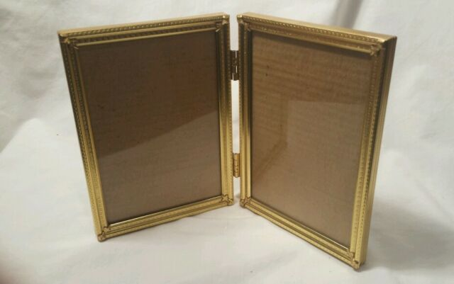 Vintage 5X7 Double Picture Frame Hinged Gold Tone Metal Bi-Fold Very NICE!