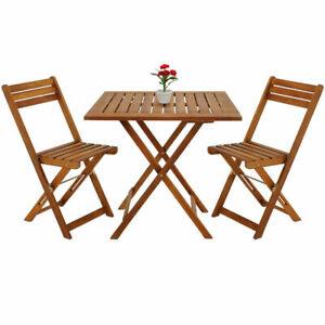 Enssemble Table Et Chaise De Jardin Pliante En Bois d´acacia 2 Chaises Et Table