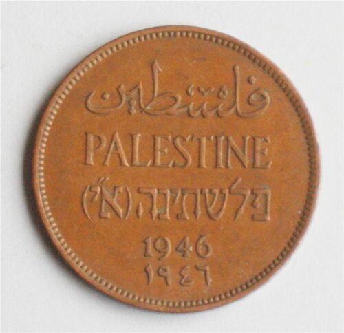 Israel Palestine British Mandate 2 Mils 1946 Bronze Coin XF