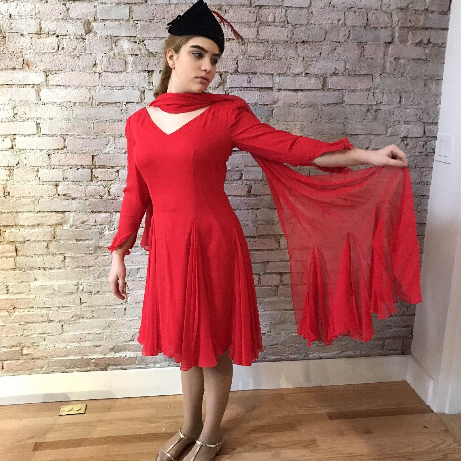 Vintage Travilla Red Silk Chiffon Dress Cocktail … - image 2
