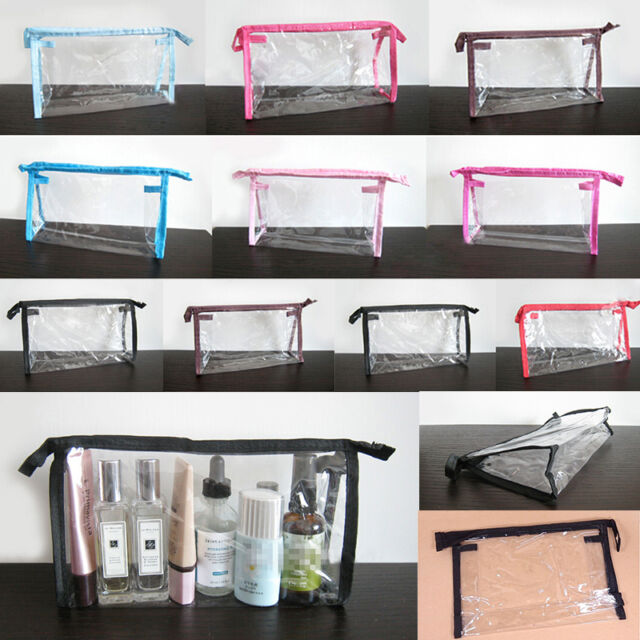 2Color Clear Transparent Plastic PVC Travel Cosmetic Make Up Toiletry Bag Zipper