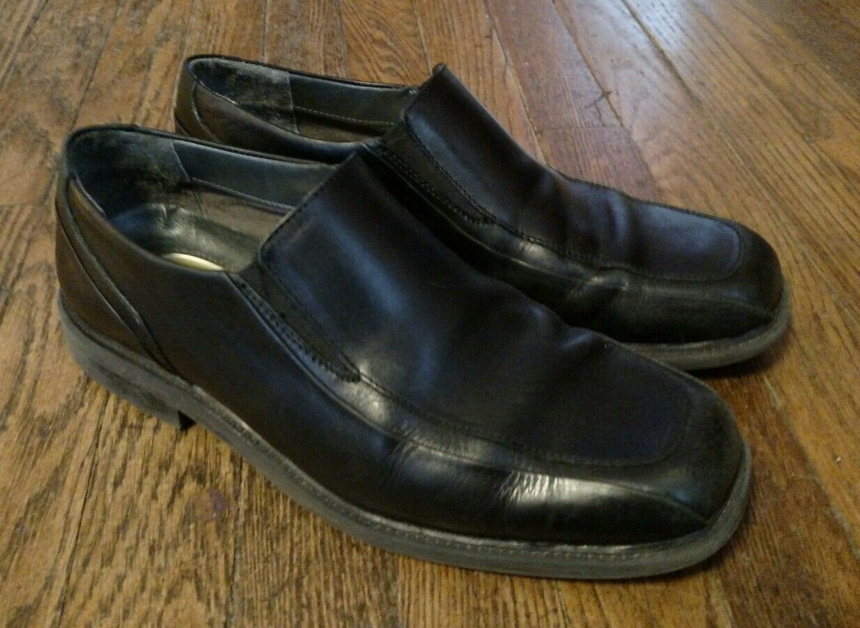 Dockers Black Leather Slip On Loafers Size 9.5M