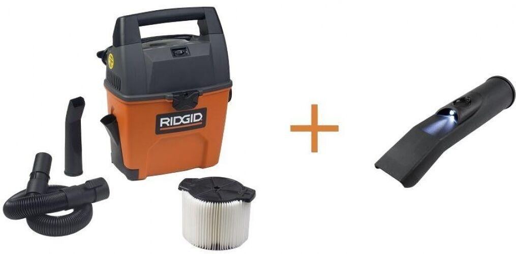 RIDGID Portable Wet Dry Vac 3 gal 3.5-Peak HP w  Bonus LED Car Nozzle 10ft Cord