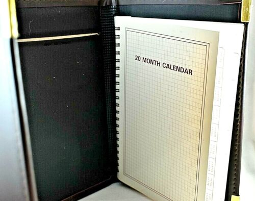 Details about  /  Vintage Tri-Fold faux leather agenda with 20 month calendar  pages