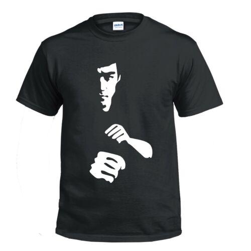 Bruce Lee Kids 5-13Y T Shirt Silhouette arti marziali boxe mma immettere il drago