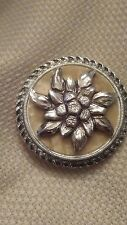 Vintage Silvertone Scarf Clip with Edelweiss