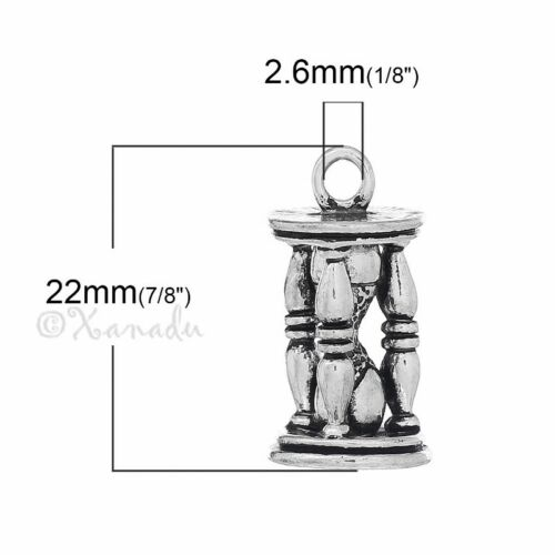 Hourglass Charm 32mm Antiqued Silver Plated 3D Pendant 5313-1 2 Or 5PCs