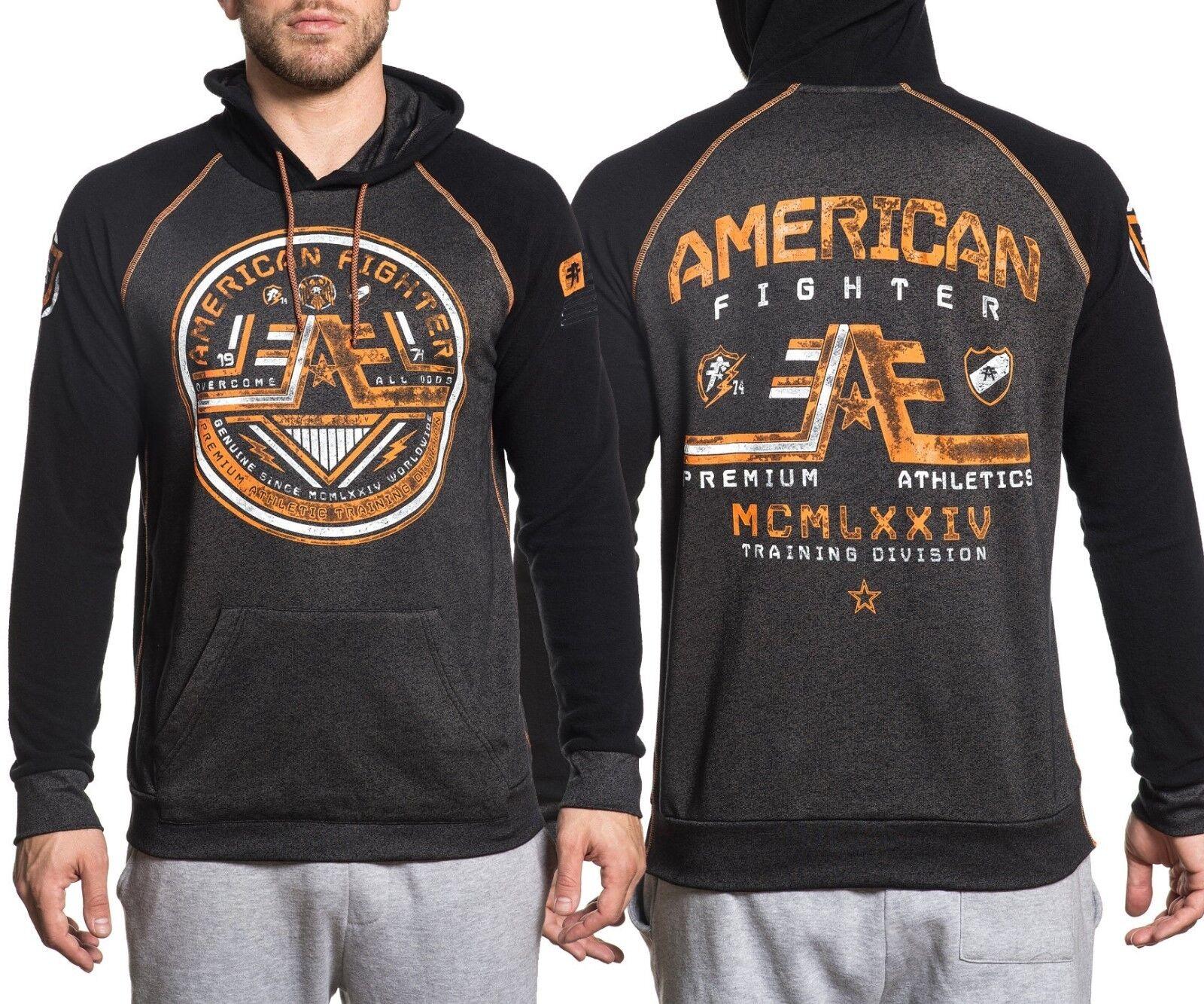 Original Affliction American Fighter Wyoming Raglan Kapuzenpulli schwarz Mass UFC