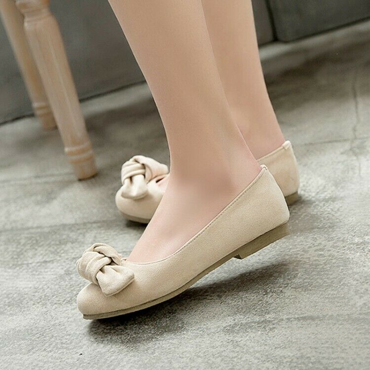 Spring Women Bowknot Flats Pumps Round Toe Pull on Casual shoes New Plus Size