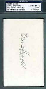 Ernie Harwell Psa Dna Coa Autograph 3x5 Index Card Hand Signed Authentic