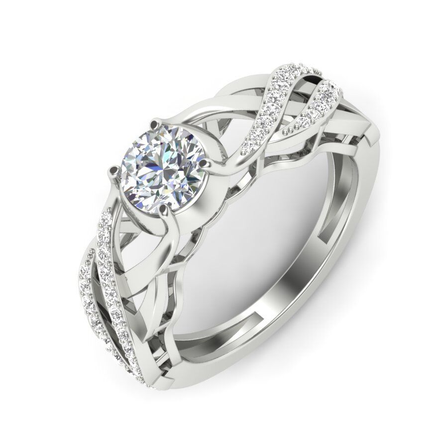 Certified 0.80cts Moissanite Engagement Ring 14kt gold