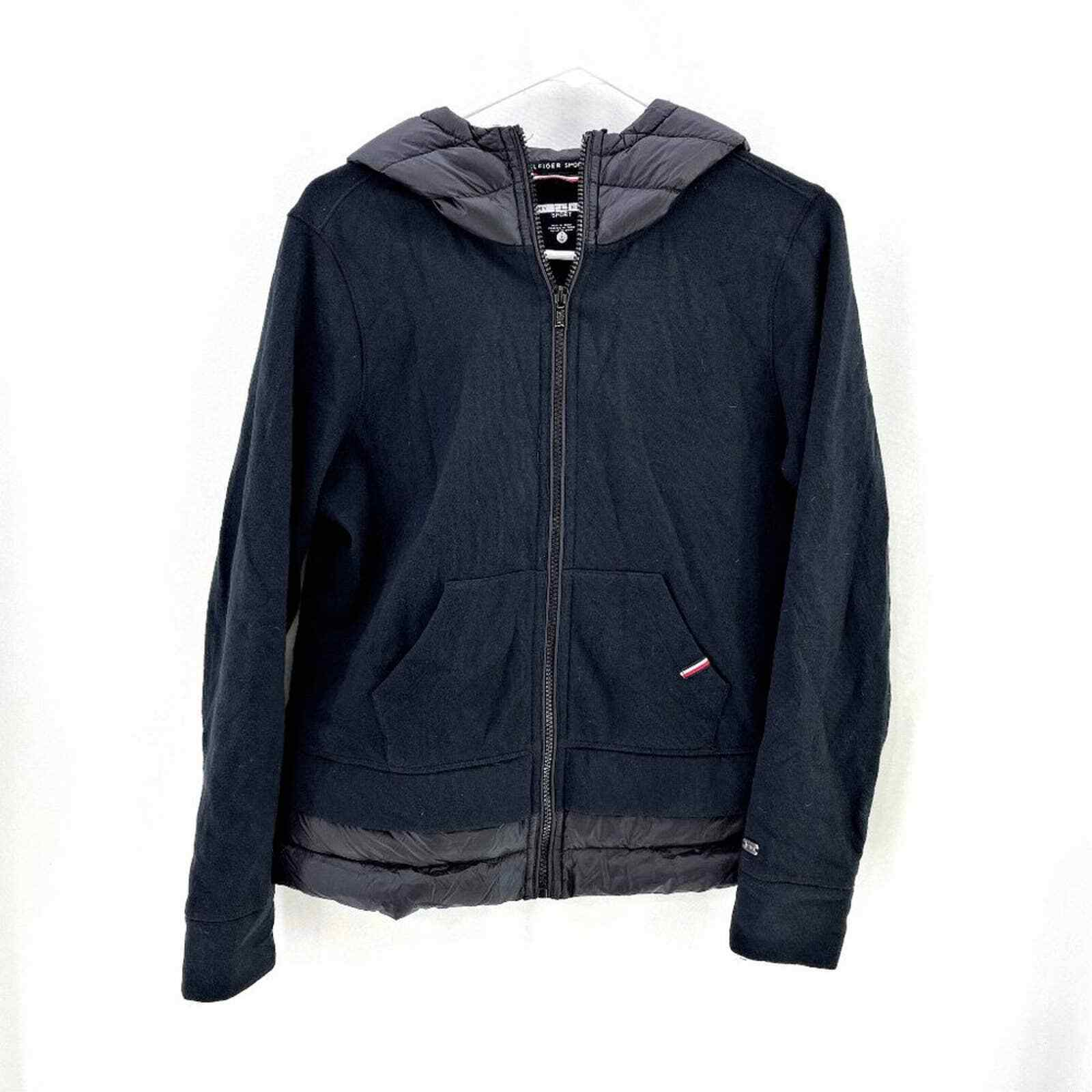 Tommy Hilfiger Jersey Quilted Bubble Zip Hooded Jacket SMALL