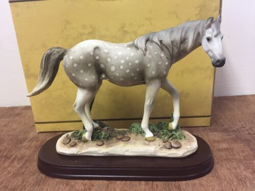 Grey Horse Ornament Figurine White Spots Grey Horse Statue by Leonardo