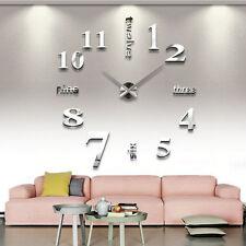 Grande surface Horloge murale Mirror 3D bricolage Sticker maison bureau SL