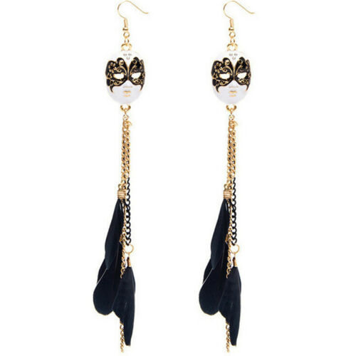 Unique Baroque Chain Feather Tassel Chain Mask Long Drop Earrings for Women Pip'