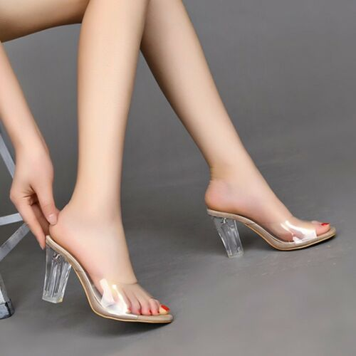 Fashion Women/'s Summer Transparent Chunky Talons Hauts Sandales Slipper Chaussures 10 cm