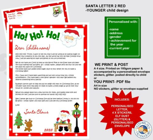 LETTER FROM SANTA 1 personalised xmas includes STICKERS /& ELF DUST older child
