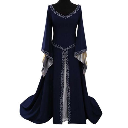 Women Halloween Gothic Witch Dress Victorian Renaissance Medieval Maxi Dress UK