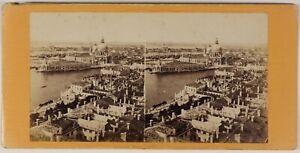 Italia Venezia Panorama Foto Stereo L53S1n57 Vintage Albumina c1865