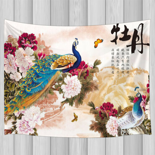 Chinese Style Peacock and Peony Flower Bohemia Tapestry Wall Hanging Rug