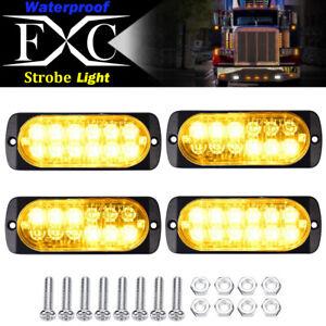 4x-Amber-12-LED-Strobe-Light-Bar-Truck-Hazard-Beacon-Flash-Warning-Emergency-36W