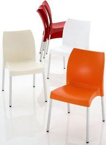 Sedie In Alluminio Per Cucina.4 Sedie In Alluminio Anodizzato E Polipropilenexsoggiorno Cucina