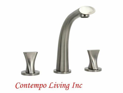 Stainless Steel Brushed Widespread Twist Brushed Nickel 3 Hole Bathroom Faucet