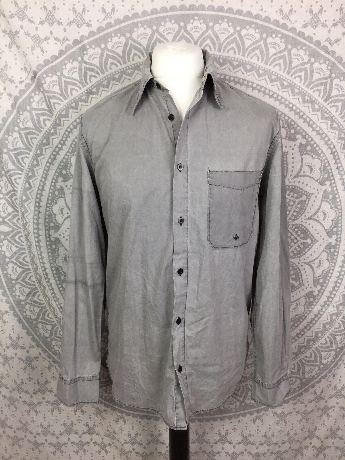Vintage Stone Island Long Sleeve Shirt Casuals Retro Light Grey Medium M Mens