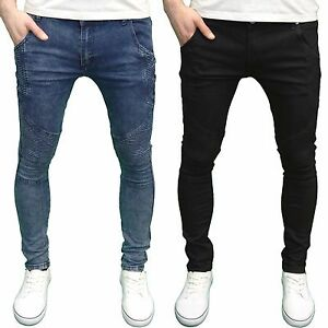 Mens-Soulstar-Biker-Panelled-Detail-Stretch-Skinny-Fit-Jeans-BNWT