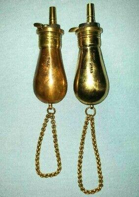 2 Pc Vintage Victorion Style Small Miniature Brass Gun Powder Bottle// Flask