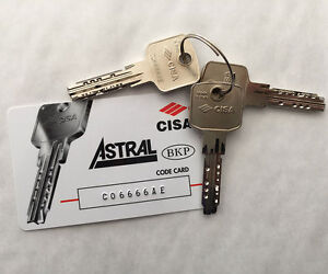 CISA Astral Replacement Cylinder Keys Cut to Code from Card/Key - FREE POSTAGE