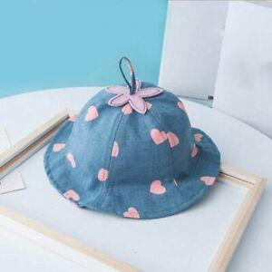 Bucket-Hat-Spring-Summer-Heart-Floral-Baby-Girl-Newborn-Toddler-Panama-Sun-Cap